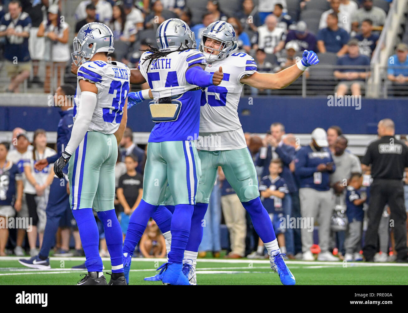 674067f7 September 30, 2018: Dallas Cowboys linebacker Jaylon Smith #54 and Dallas  Cowboys linebacker Leighton Vander Esch #55 chest bump before an NFL  football game ...