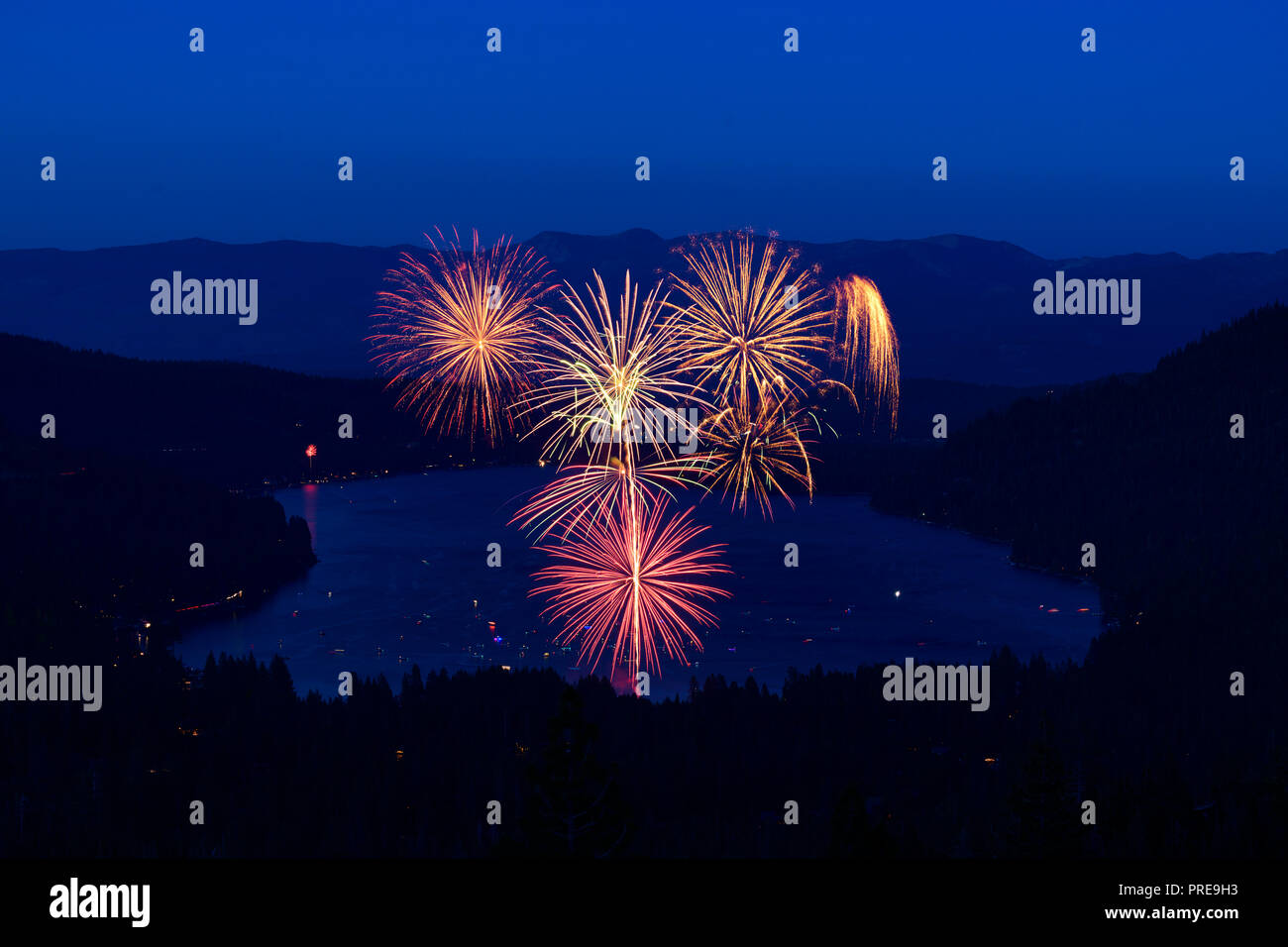 July 4 fireworks show at Donner Lake in Truckee, California, 2018. - Stock Image