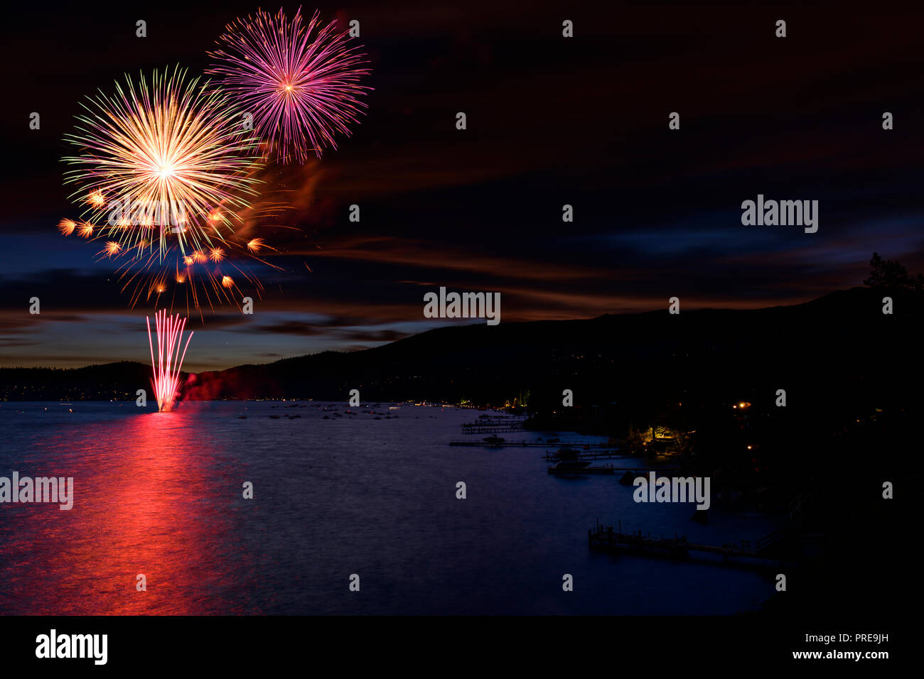 July 5 fireworks show in Incline Village, at Lake Tahoe, Nevada, North America. Stock Photo