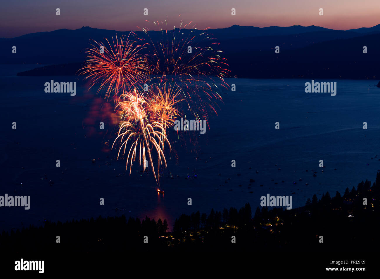 July 3 fireworks show at Kings Beach in North Lake Tahoe, California, USA, 2018. Stock Photo