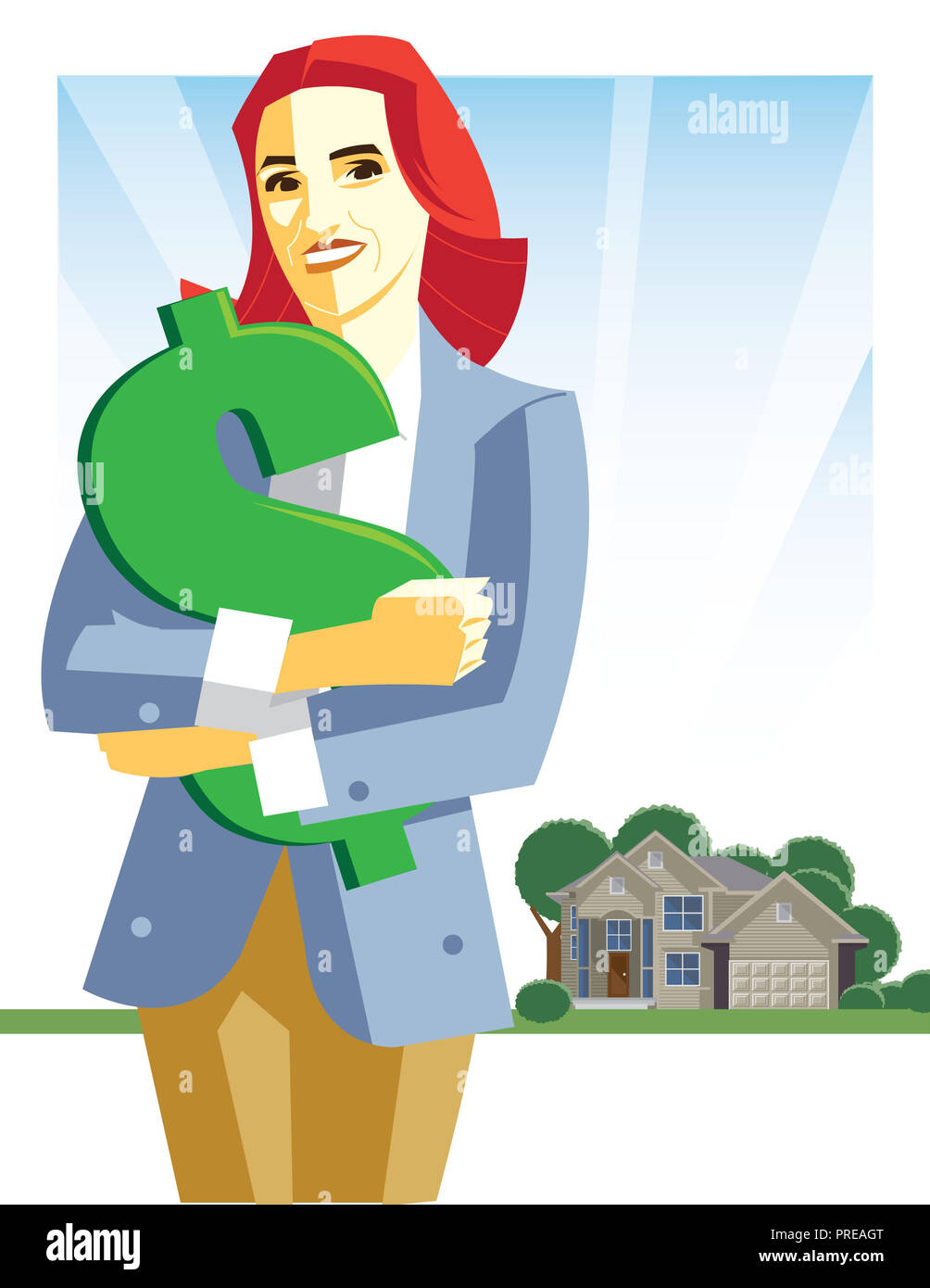 Portrait of woman holding dollar sign in front of house - Stock Image