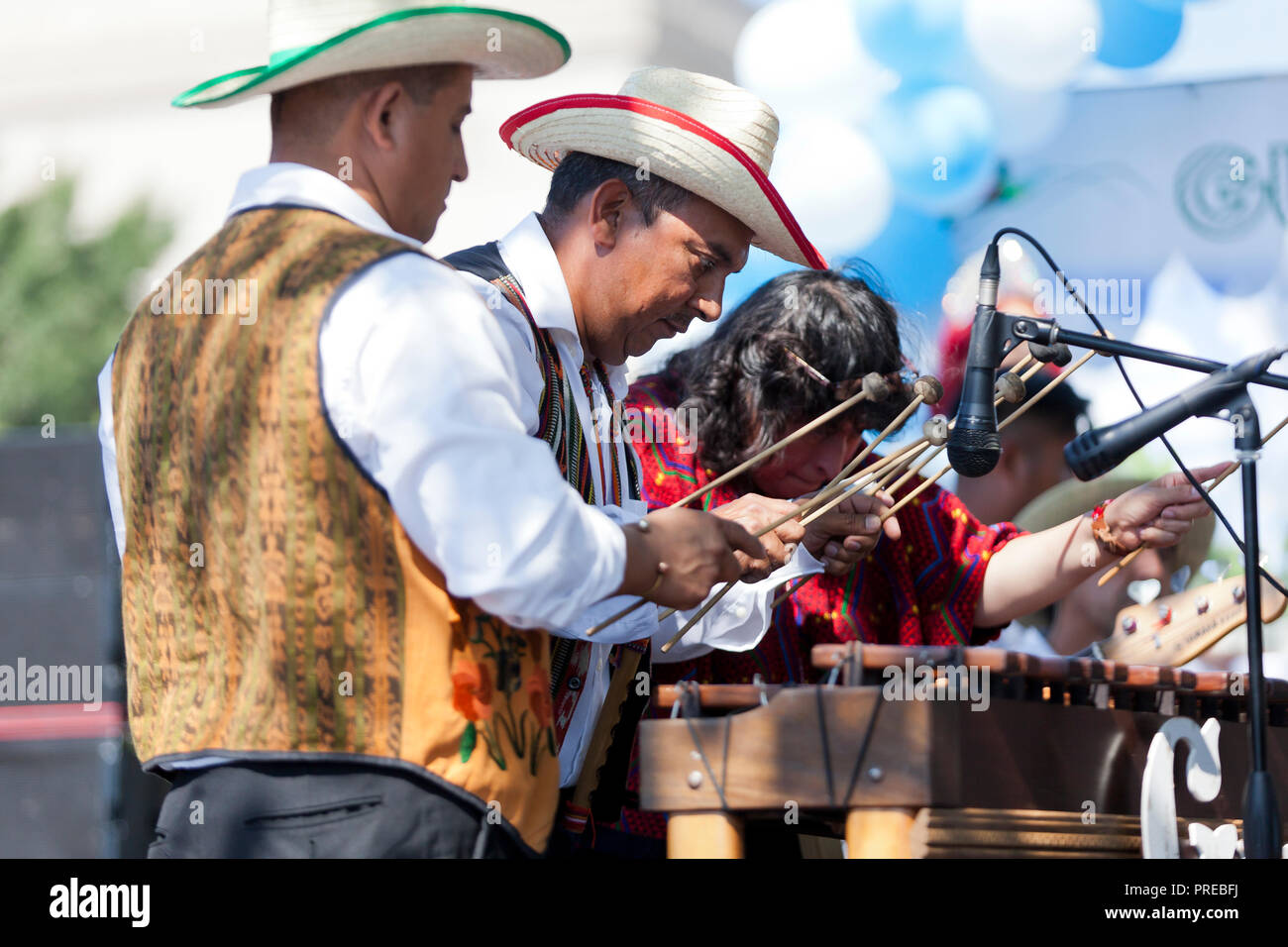 Guatemalan xylophone players (Hispanic xylophone player) - USA - Stock Image