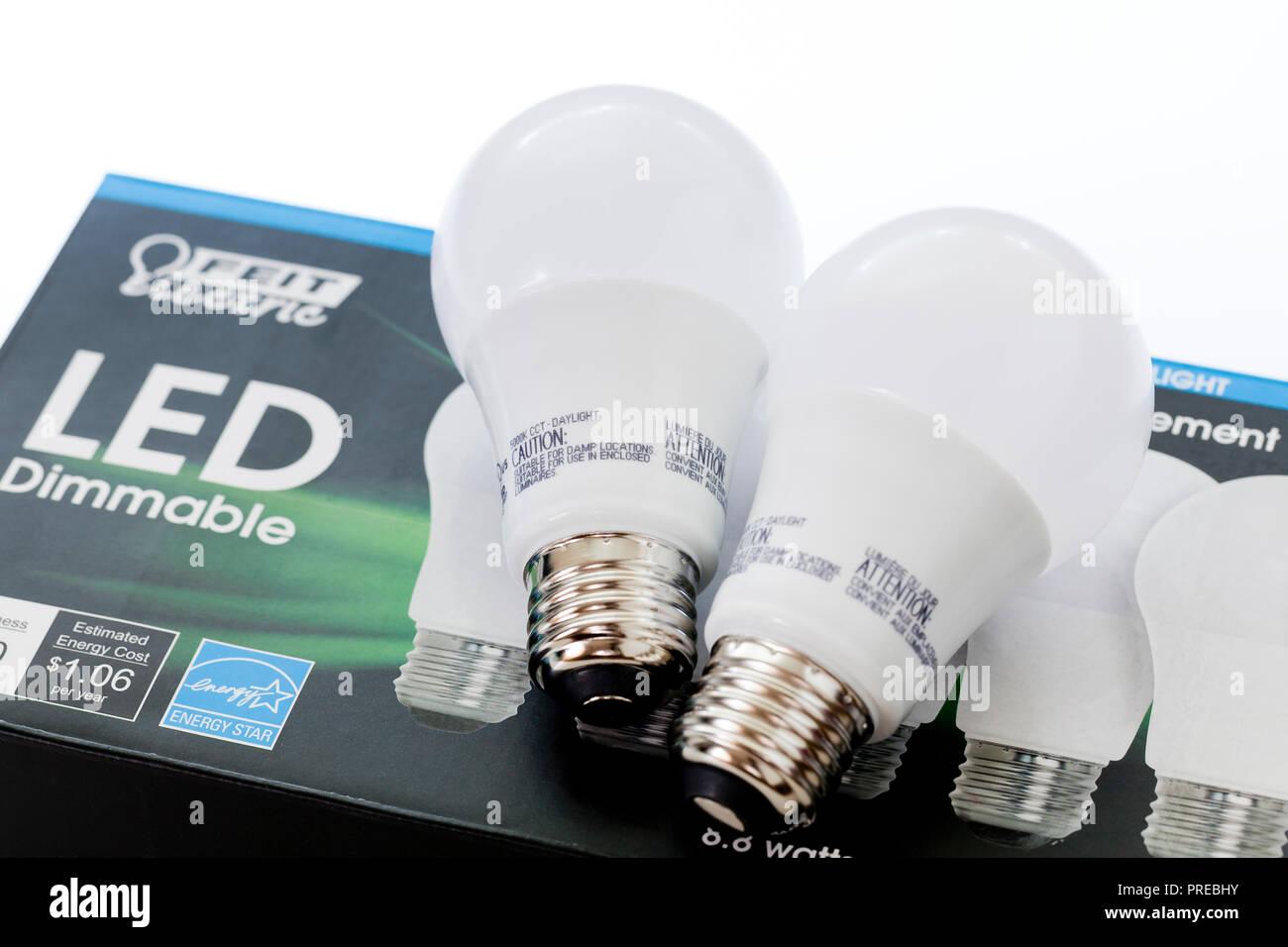 LED light bulbs - USA - Stock Image