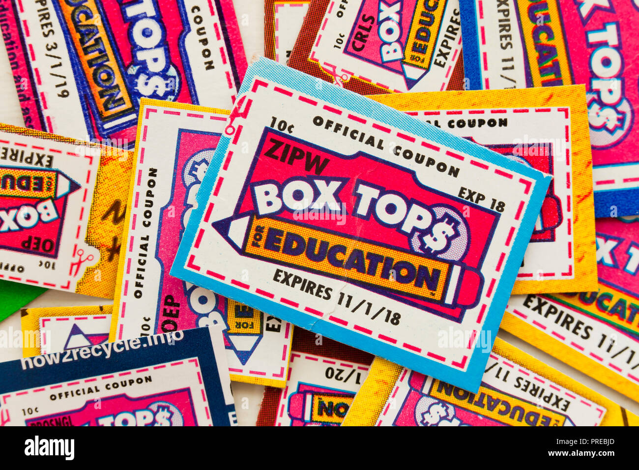 Box Tops for Education coupons - USA - Stock Image