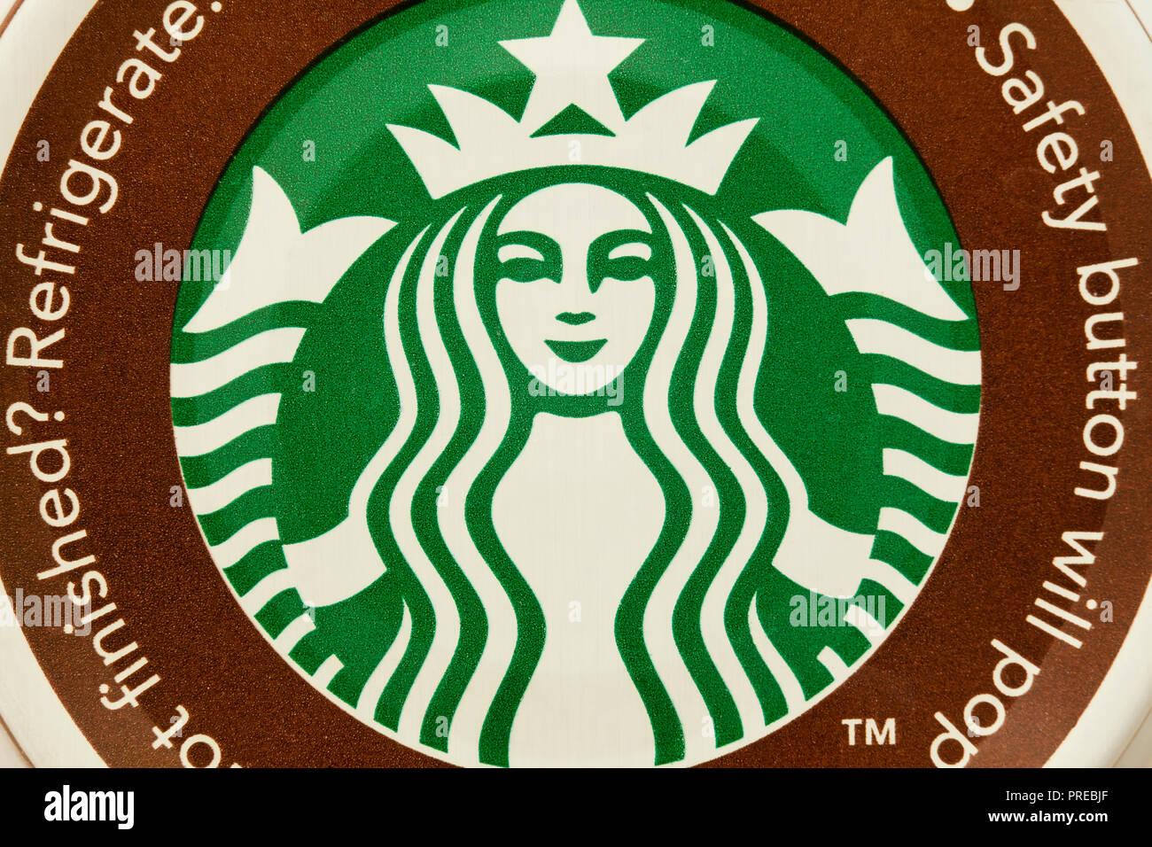 Starbucks logo on bottled coffee lid - USA - Stock Image