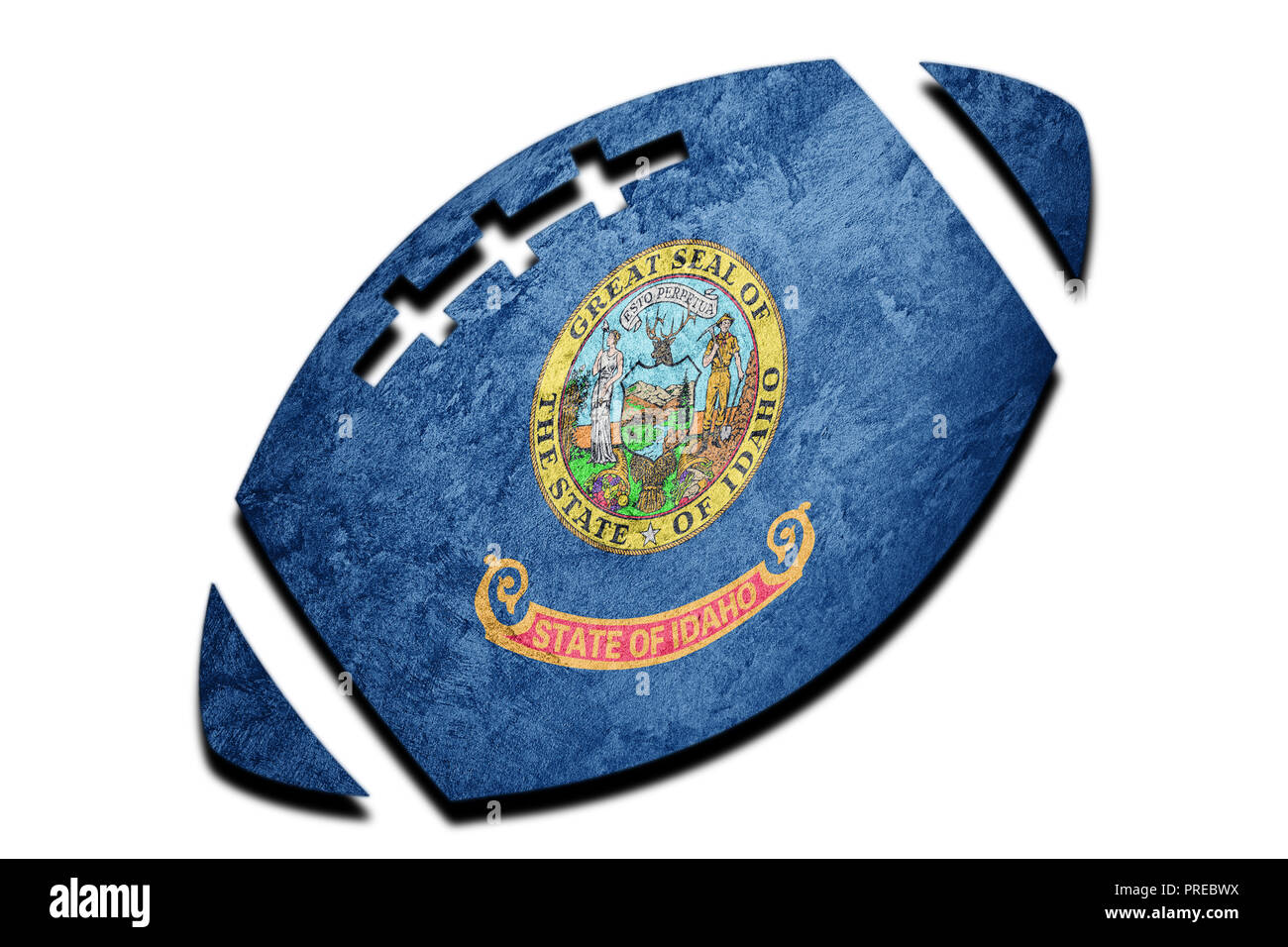 Rugby ball Idaho state flag. Idaho flag background Rugby ball - Stock Image