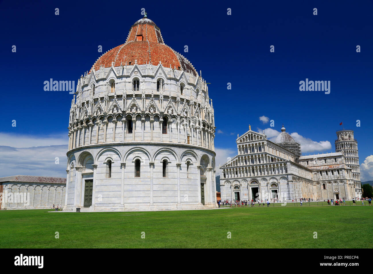 Piazza del Duomo in Pisa, Baptistery and Basilica, Italy - Stock Image