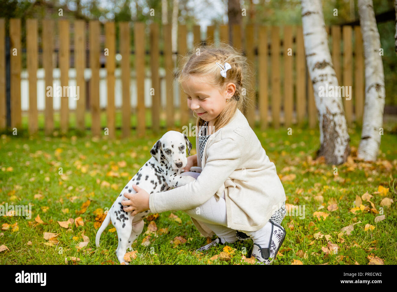 A cute little toddler girl giving a hug to her dog,Dalmatian puppy, fall season in a garden,lawn with autumn leaves in the background.Concept of love for nature, protection of animals,innocence, fun, joy, carefree childhood.Copy space - Stock Image