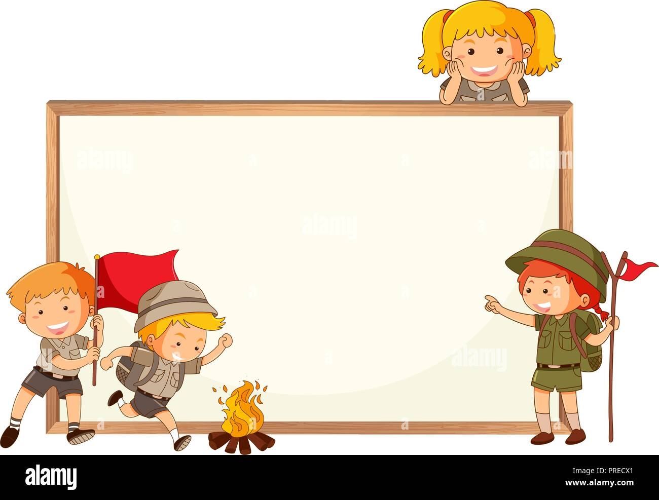 Boy and girl scout and whiteboard frame illustration - Stock Vector