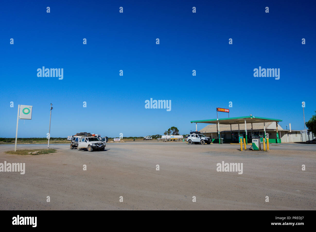 Cocklebiddy Roadhouse on the Eyre Highway, Nullabor Plain Western Australia - Stock Image