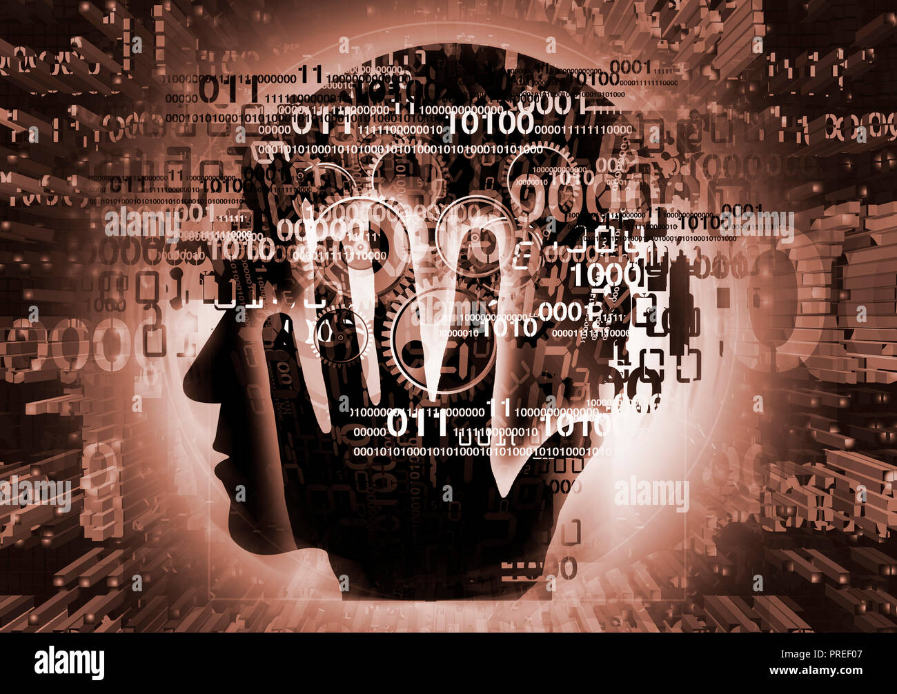 Burn out syndrome,Stress Overworked man. Stylized male head, programmer, computer expert silhouette holding his head, with binary codes and gear. - Stock Image