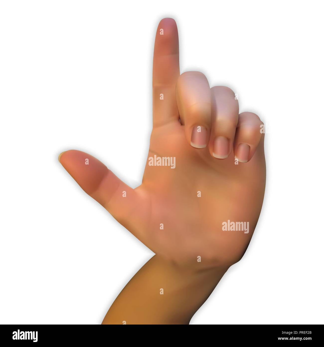 A realistic 3D hand of a person looking at the palm with a pointing index finger and the rest of the fingers folded. Vector Illustration - Stock Vector
