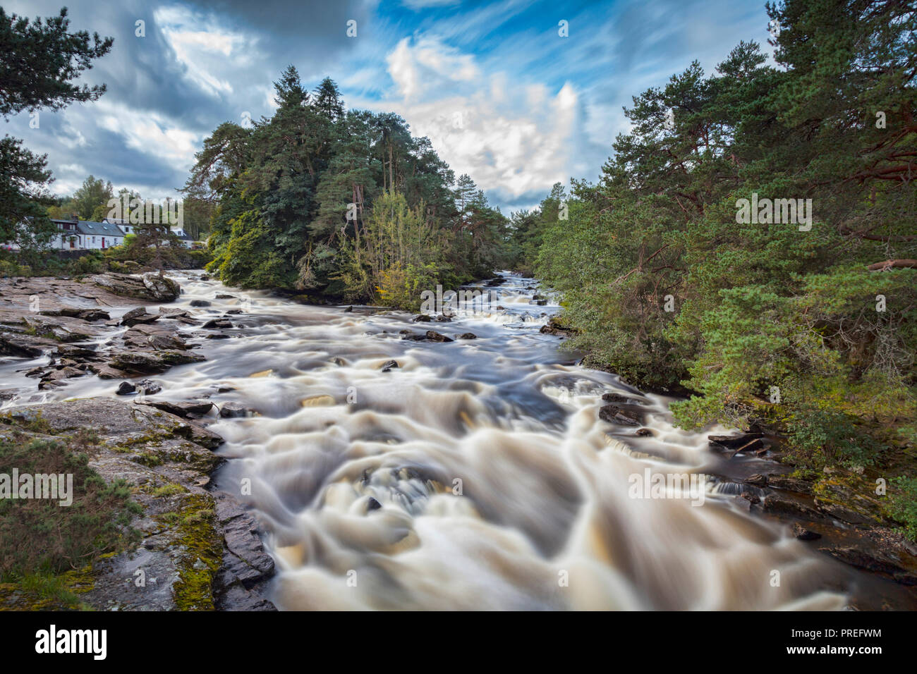 The Falls of Dochart in the village of Killin, Stirling, in central Scotland. Stock Photo