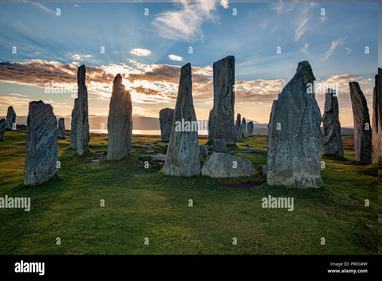 Autumn evening at the stone circle at Callanish, Isle of Lewis, Western Isles, Outer Hebrides, Scotland, UK Stock Photo