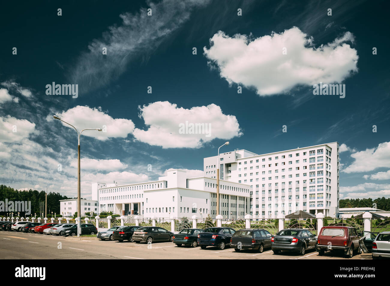 Gomel, Belarus. Building Of Repablican Scientific Center For Radiation Medicine And Human Ecology In Summer Sunny Day. - Stock Image