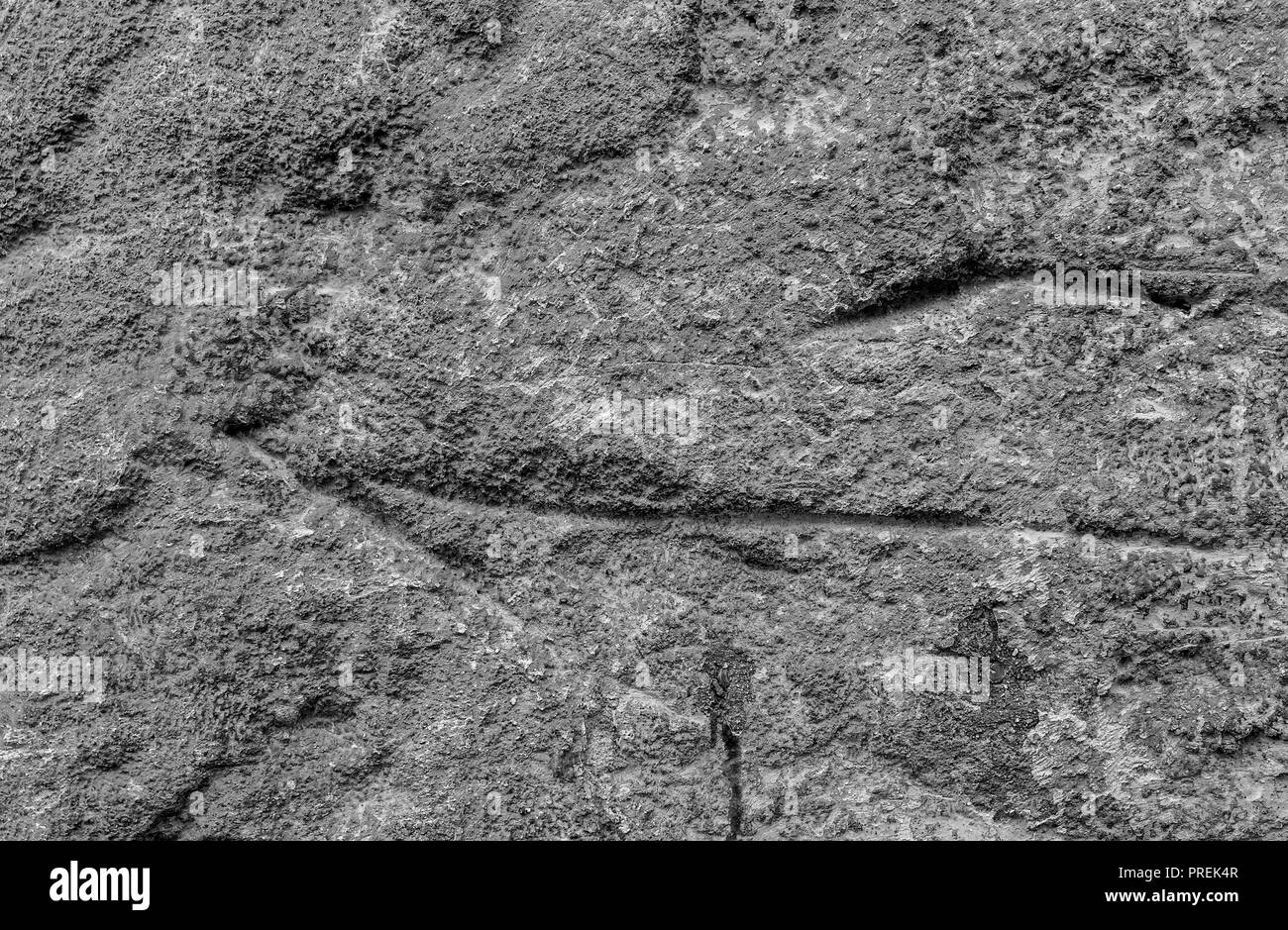 Old concrete wall relief. Well visible texture. - Stock Image