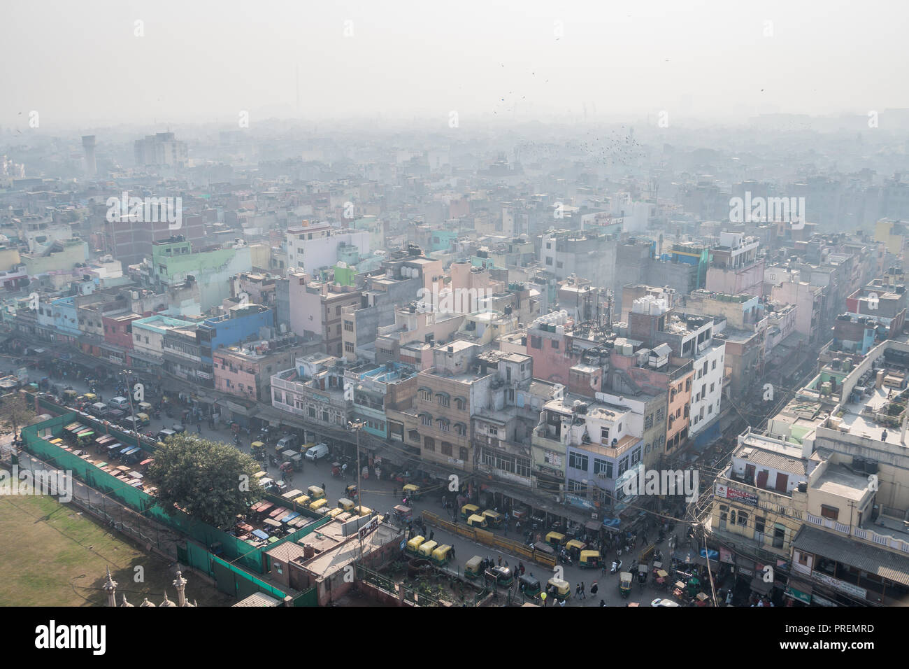 The streets of old Delhi. The view from the top. Dense construction of urban agglomeration in the overpopulated city. - Stock Image