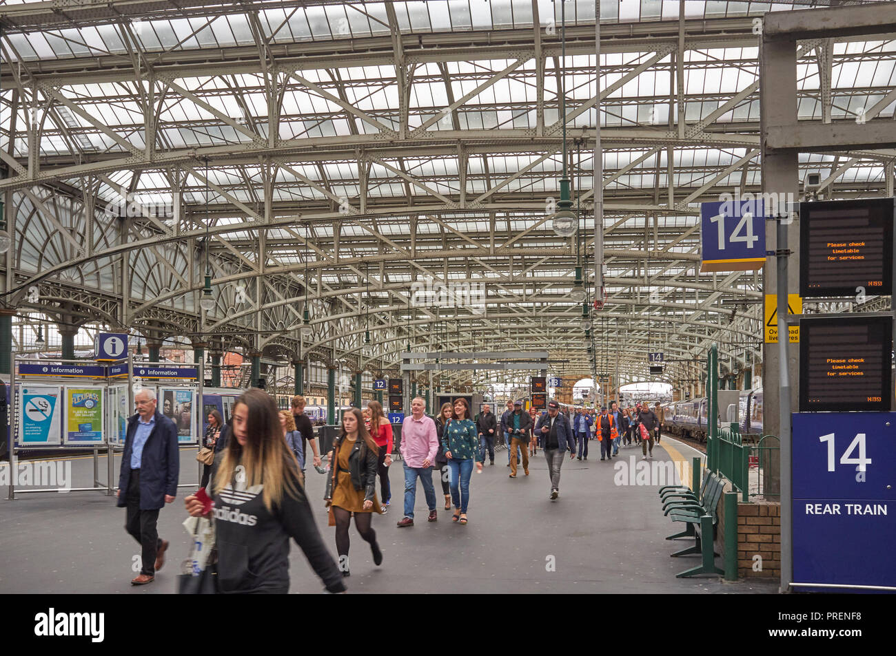 Passengers arriving at Glasgow Central Station, Central Scotland, UK - Stock Image