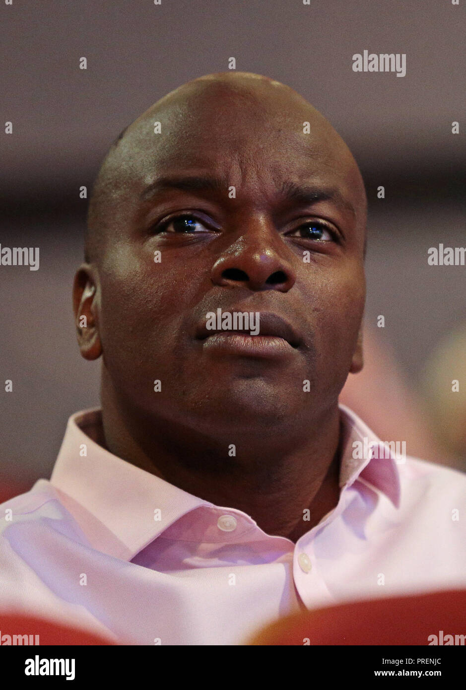 Shaun Bailey, who is the Conservative candidate for the next London mayoral election, in the audience at the party's annual conference at the International Convention Centre, Birmingham. PRESS ASSOCIATION Photo. PRESS ASSOCIATION Photo. Picture date: Tuesday October 2, 2018. See PA story TORY Main. Photo credit should read: Aaron Chown/PA Wire - Stock Image