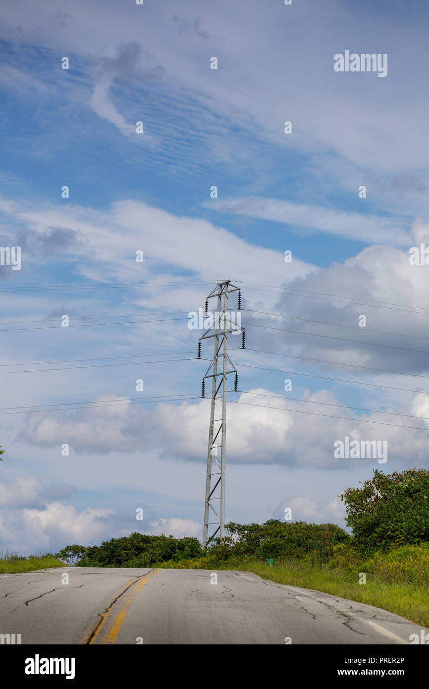 High voltage lines, Fulton County, New York State. - Stock Image