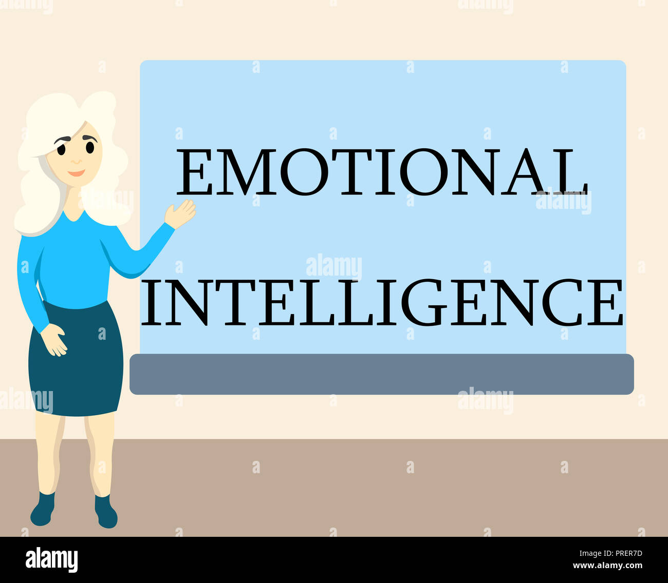 Writing note showing Emotional Intelligence. Business photo showcasing Self and Social Awareness Handle relationships well. - Stock Image