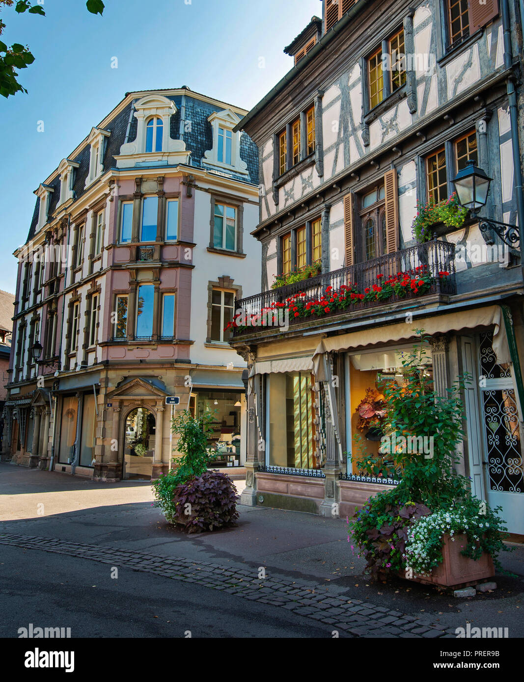 Half-timbered buildings on Streets of Colmar, Alsace, France - Stock Image