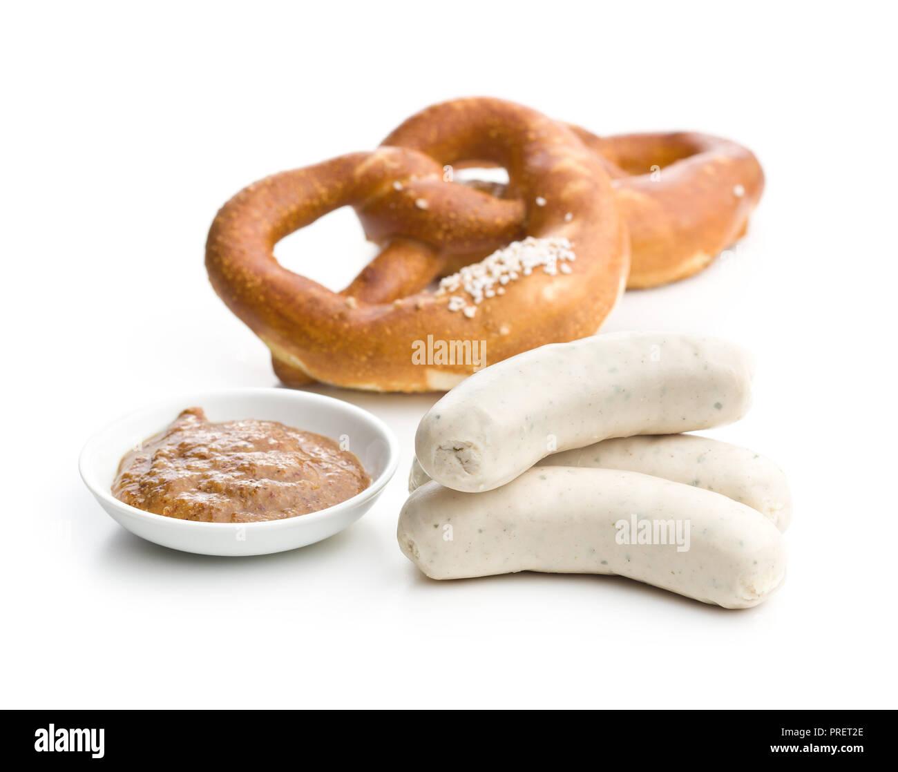 The bavarian weisswurst, pretzel and mustard isolated on white backround. - Stock Image