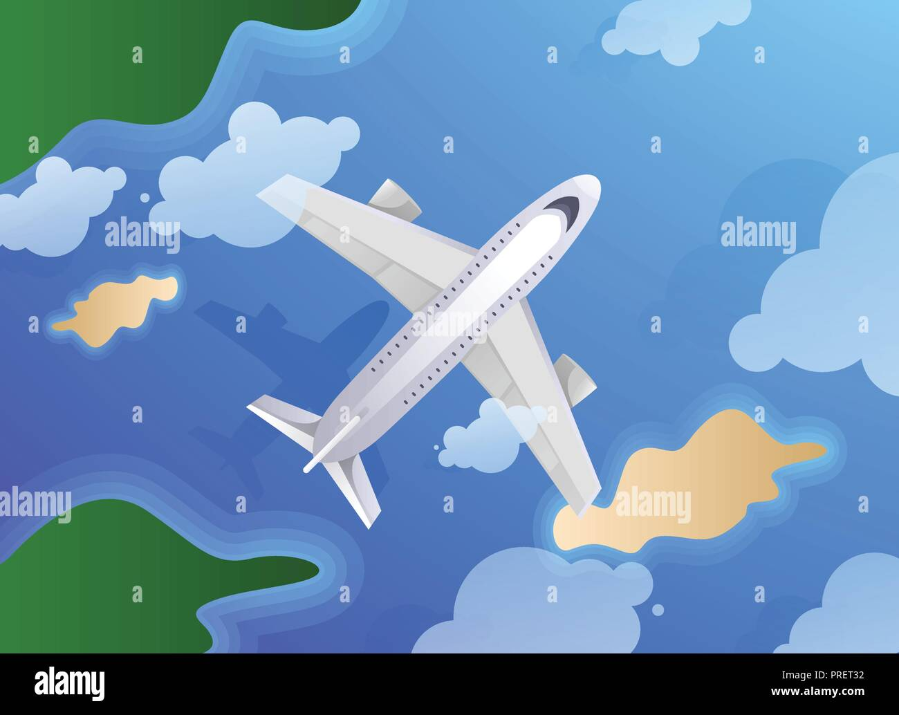 Top view of plane or jet aircraft flying over island and ocean. Summer travel or tourism agency theme - Stock Vector