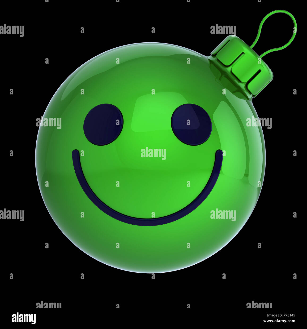 Christmas ball smiling face green, New Year\'s Eve bauble cartoon ...
