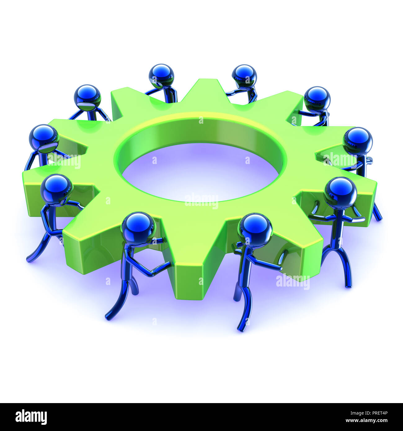characters teamwork abstract gearwheel business process  team work men turning gear wheel