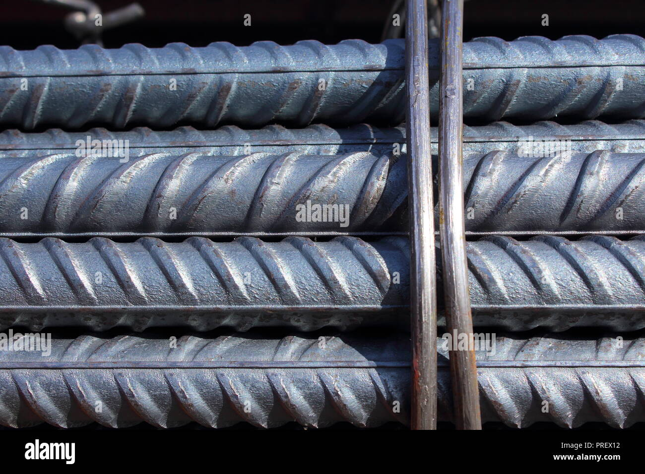 bundle of steel reinforcement bars - Stock Image