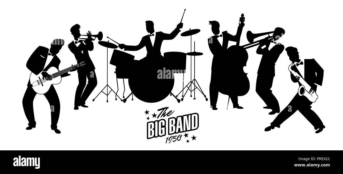 Jazz Swing Orchestra. Retro style. Cartoon vector illustration. 50's or 60's style musicians - Stock Image