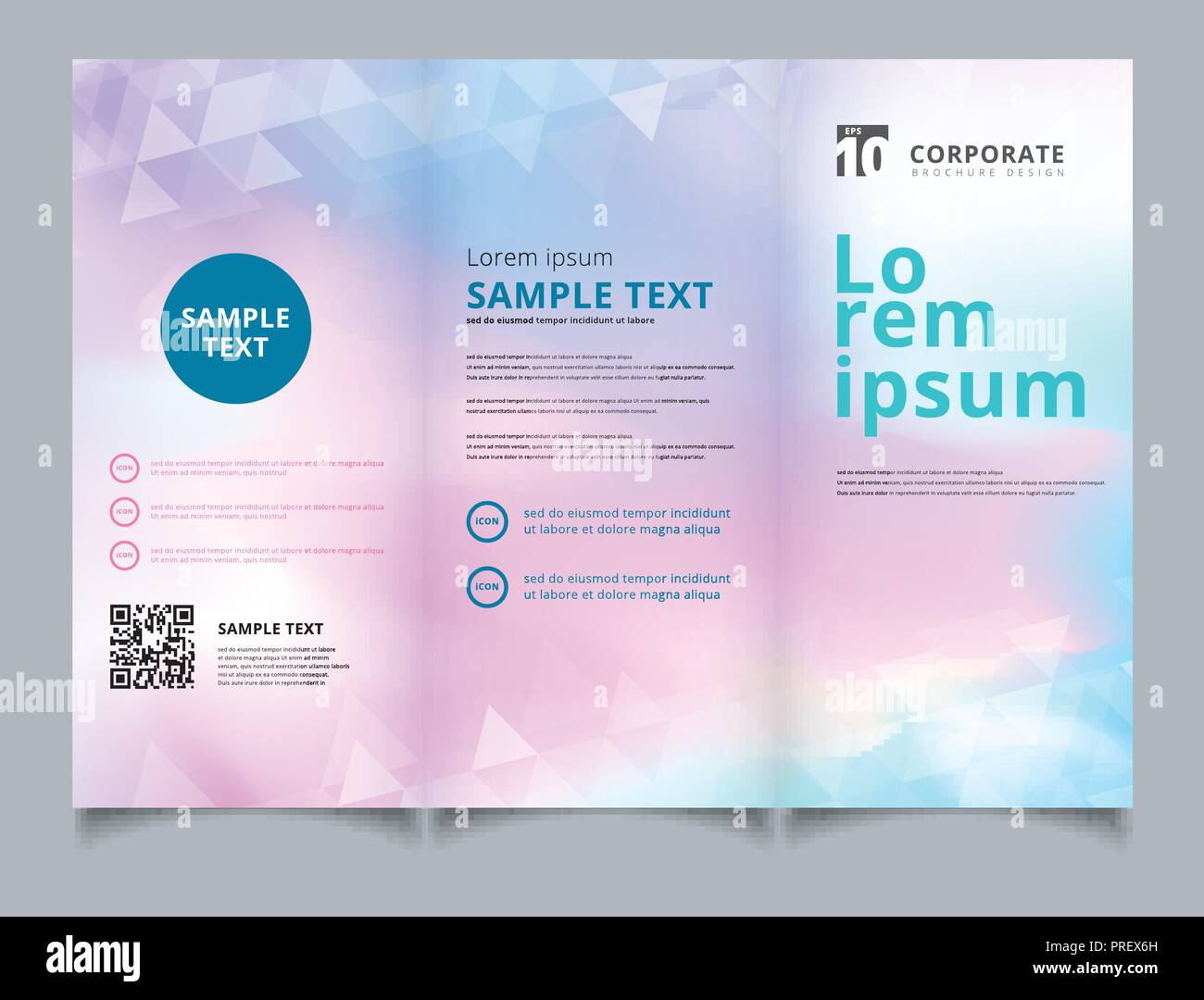 Template Brochure Layout Design Abstract White Triangles Geometric