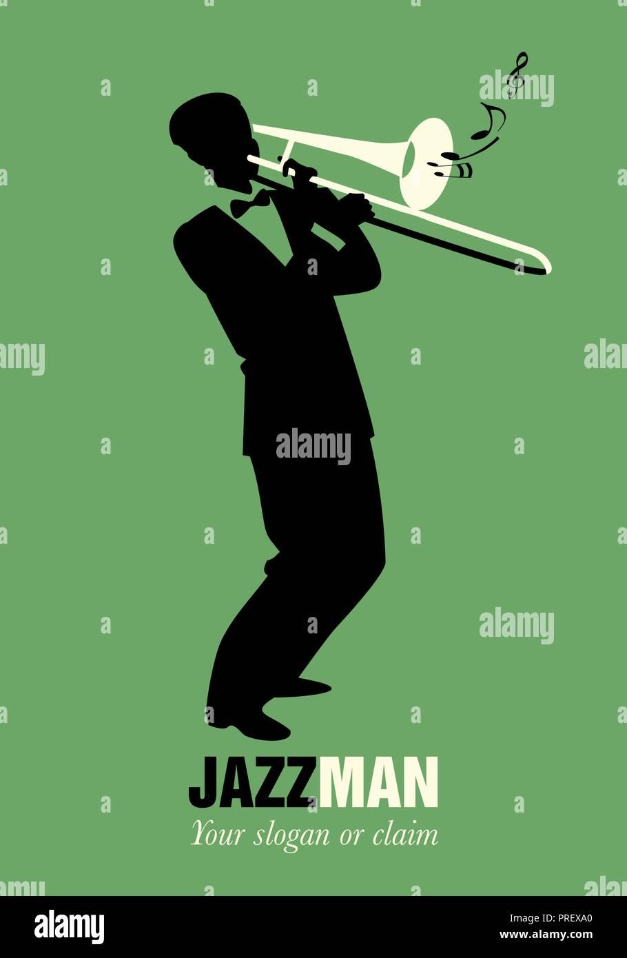 Retro cartoon music  Trombone player playing a song  Musical