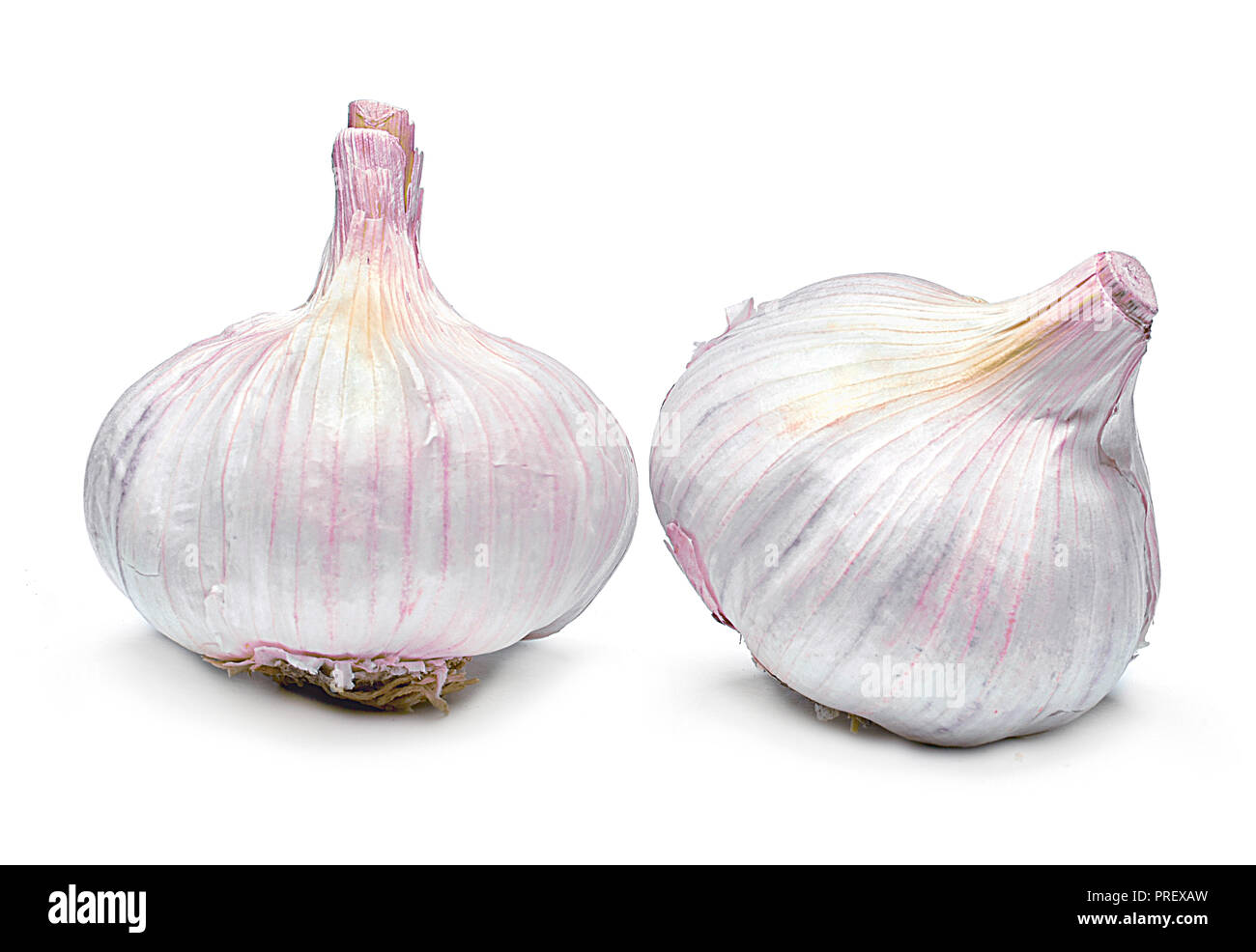 Beautiful fresh garlic. Group of objects or cooking ingredients, isolated on white background. Closeup shot, top view. - Stock Image