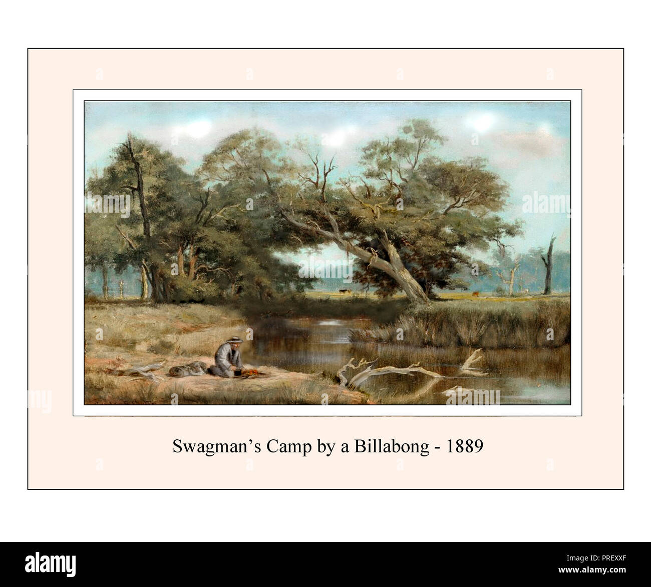 The Swagman's Camp After a Landscape by Gordon Coutts Reset and Refreshed Stock Photo