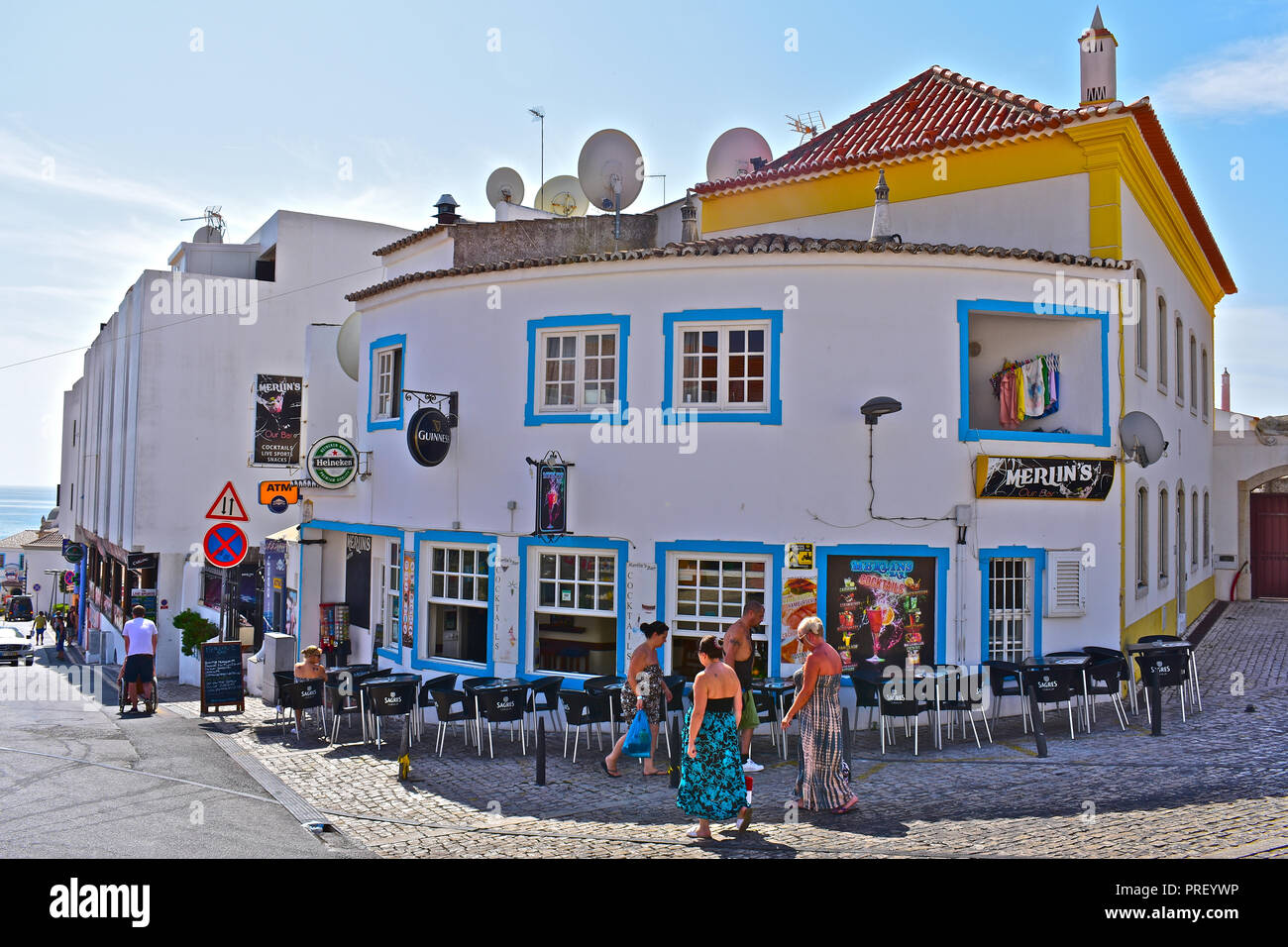 Merilin's Bar is a popular pub and bar in the old town of Albufeira, Algarve, Portugal - Stock Image