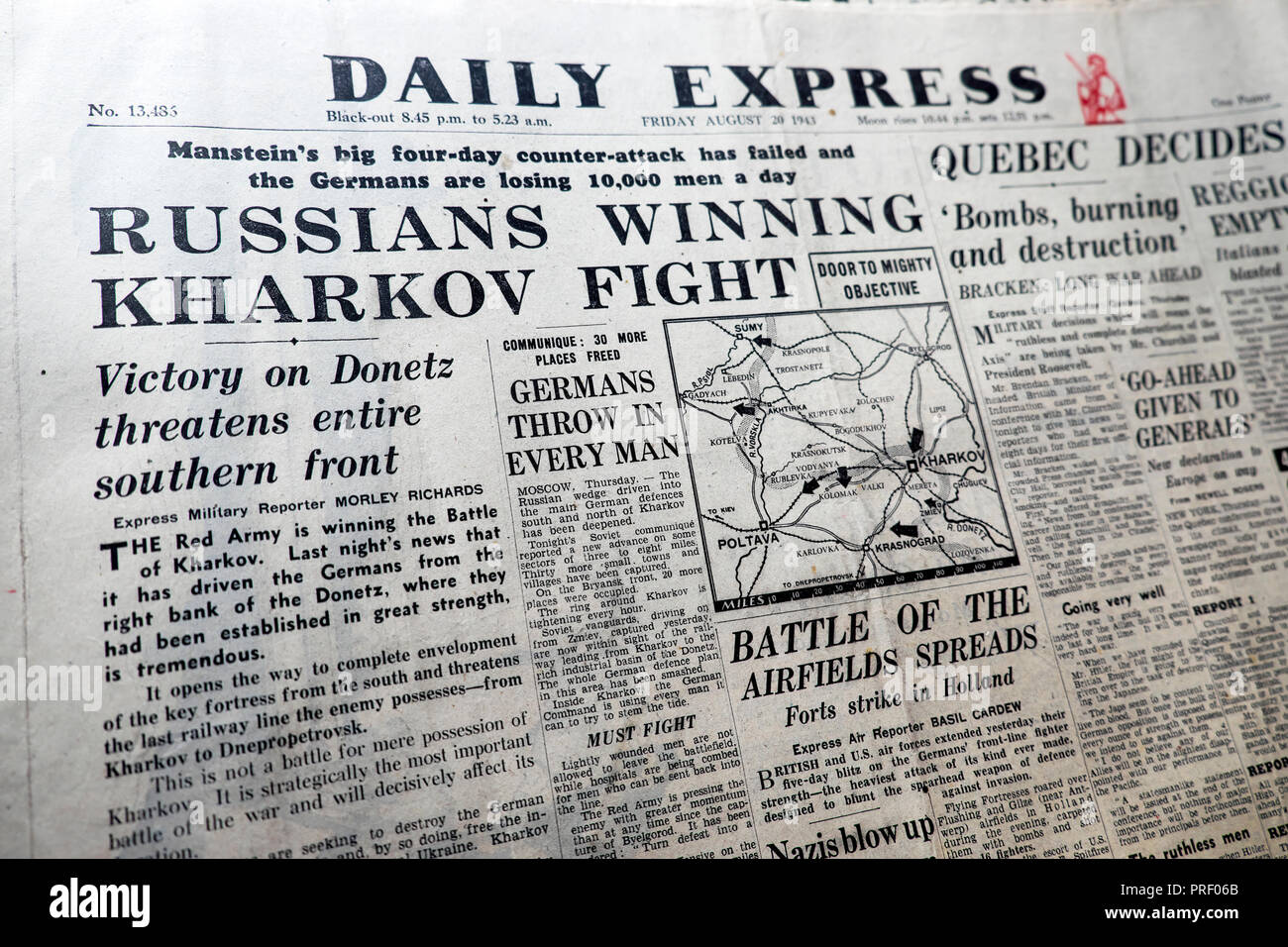 'Russians Winning Kharkov Fight'  front page headlines of the Daily Express newspaper August 20 1943 London UK  historical archive - Stock Image