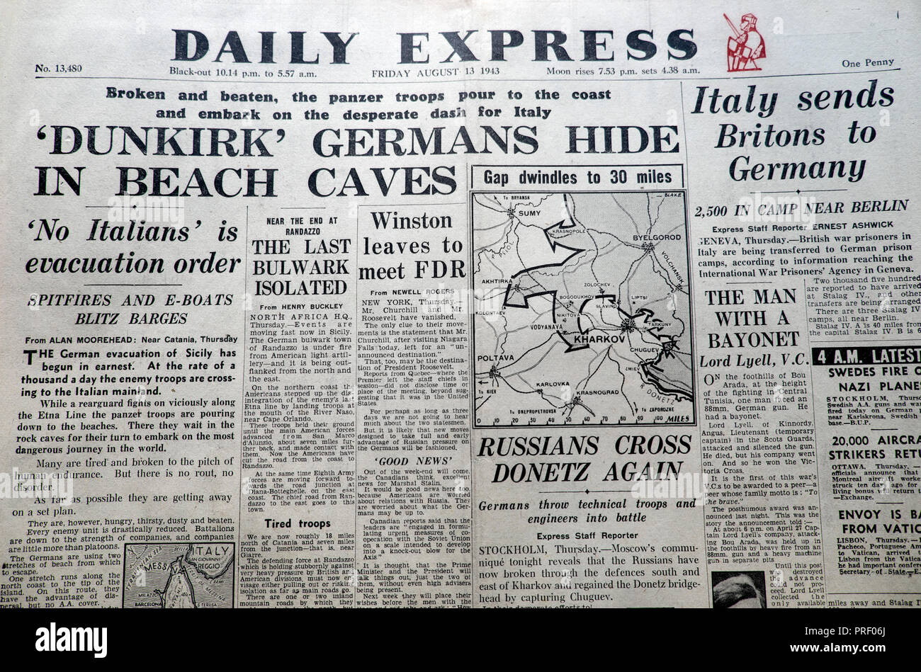"""Front page headlines of the Daily Express newspaper  """"Dunkirk Germans Hide in Beach Caves""""  London England UK August 1943  Second World War archive Stock Photo"""