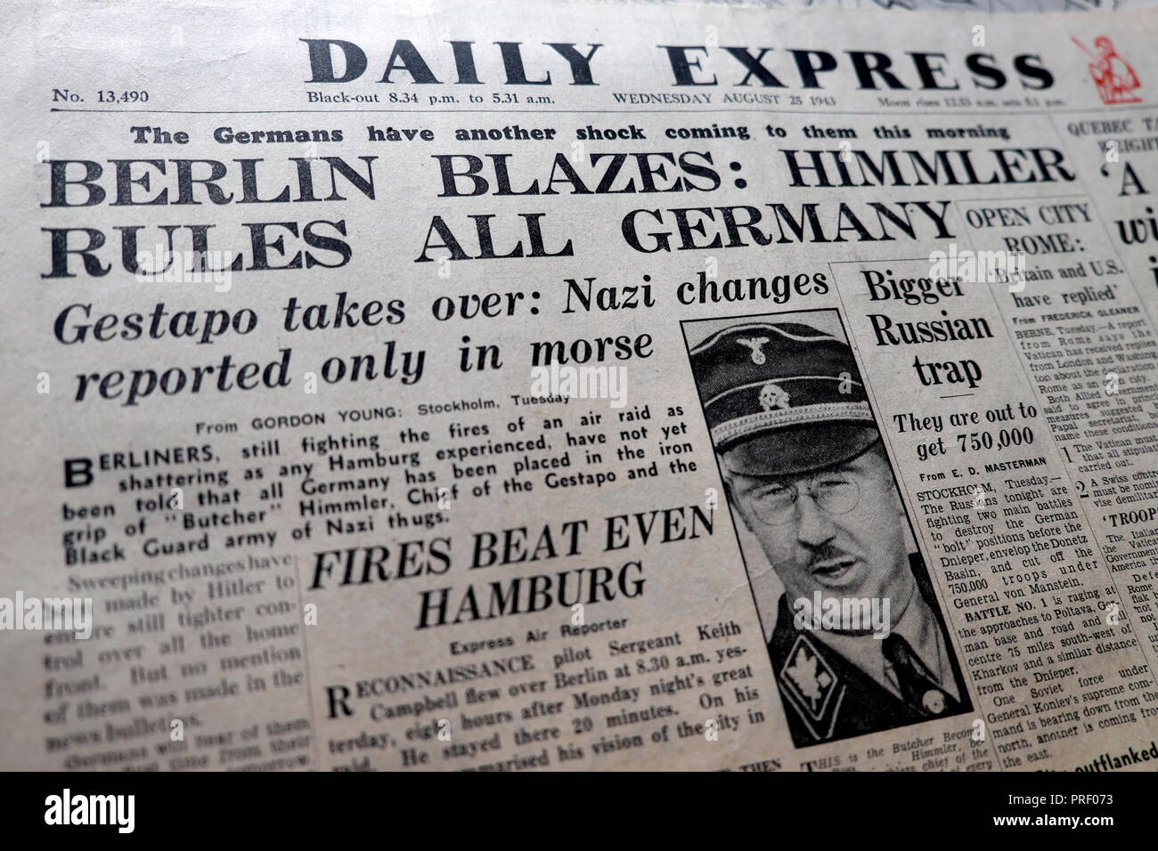 Front page headlines of the Daily Express newspaper 'Berlin Blazes: Himmler Rules All Germany' London England UK  August 25 1943  historical archive - Stock Image