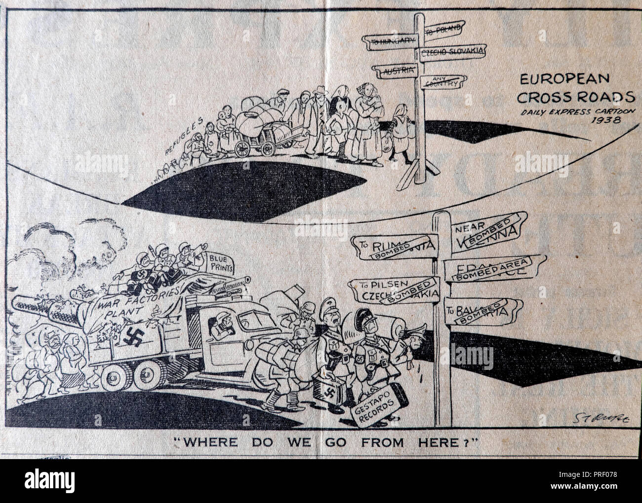 WWII Daily Express cartoon 1938 'European Crossroads' queue of Second World War refugees and Nazi military war machine London UK  historical archive - Stock Image
