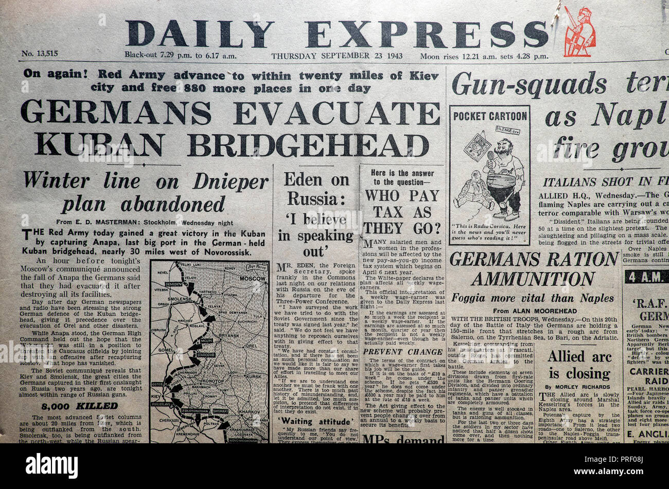 Second World War headlines in Daily Express newspaper 'Germans Evacuate Kuban Bridgehead'  London England UK on September 23 1943  historical archive - Stock Image