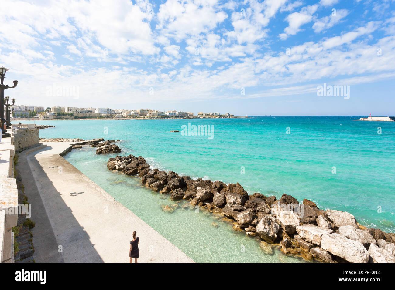 Otranto, Apulia, Italy - Wave-breaker at the quay of Otranto in Italy Stock Photo
