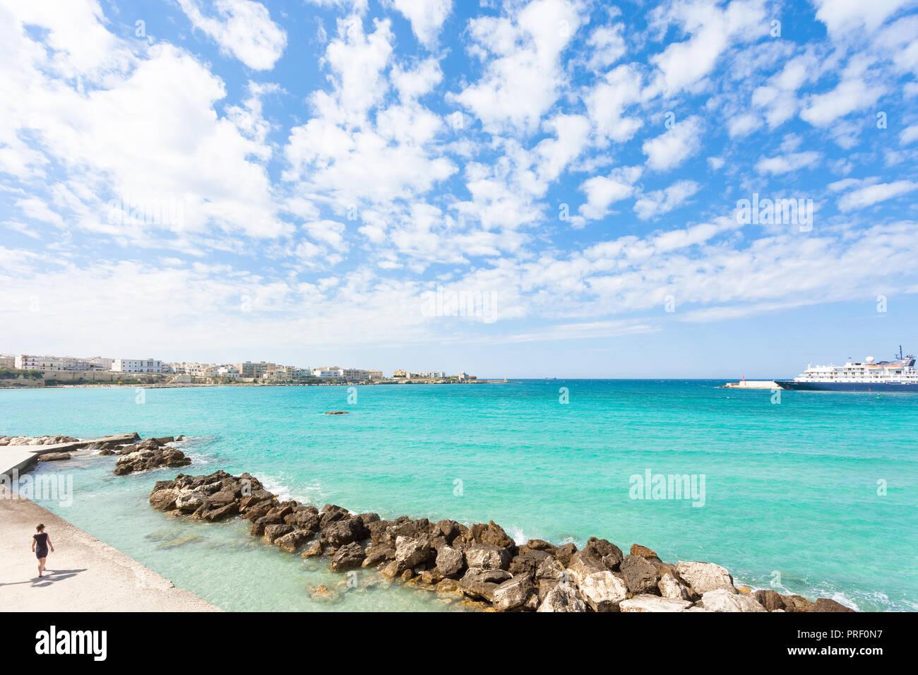 Otranto, Apulia, Italy - A glance across the huge harbor entrance of Otranto Stock Photo