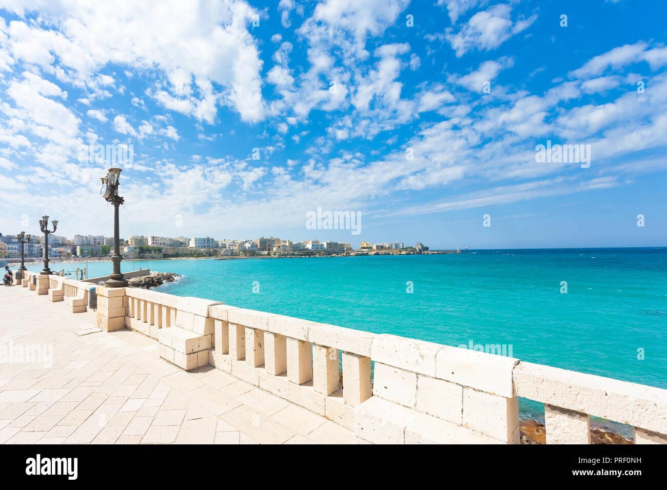 Otranto, Apulia, Italy - Lookout from the promenade of Otranto in Italy Stock Photo