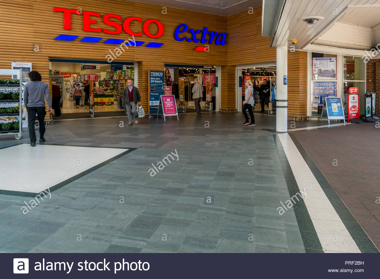 Exterior of a Tesco Extra Store, The Meadows, Camberley, Surrey, UK - Stock Image