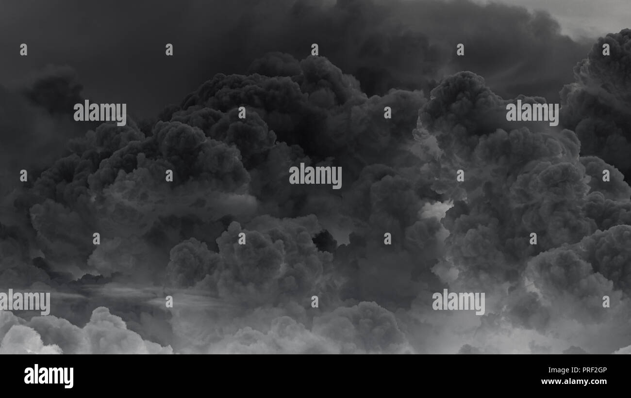 Eruption of volcanic clouds - Stock Image