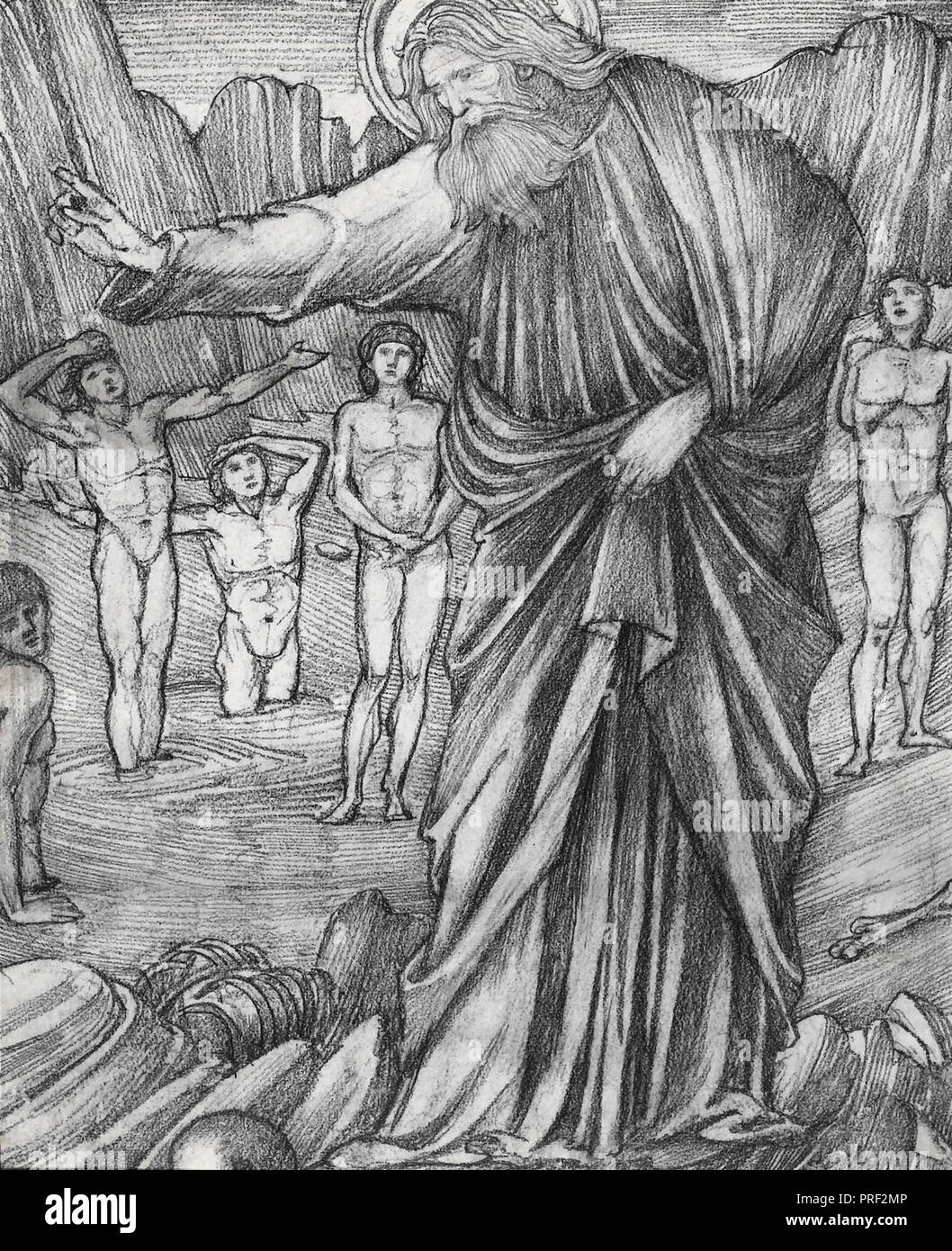 Burne-Jones  Edward Coley - Ezekiel in the Valley of Dry Bones 1 (Study for a Stained Glass Window) - Stock Image