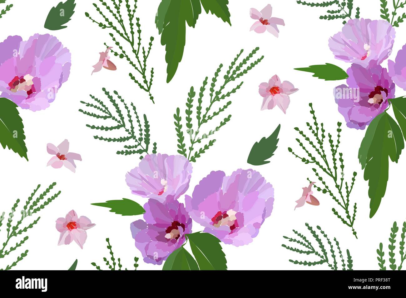 Floral Seamless Pattern With Hibiscus Flowers And Leaves Botanical