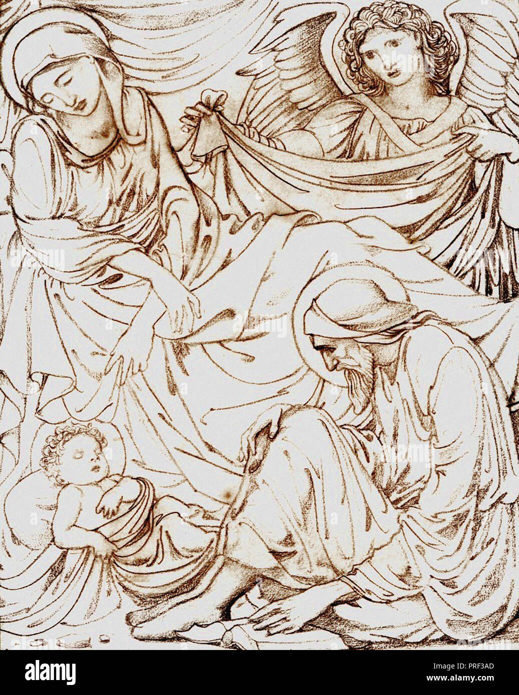 Burne-Jones  Edward Coley - the Nativity  Cartoon for Stained Glass Panel at Jesus College Chapel at Cambridge - Stock Image